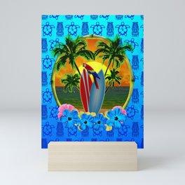 Blue Tiki Tropical Sunset Mini Art Print