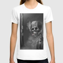 Noir Skeleton Digital Illustration T-shirt