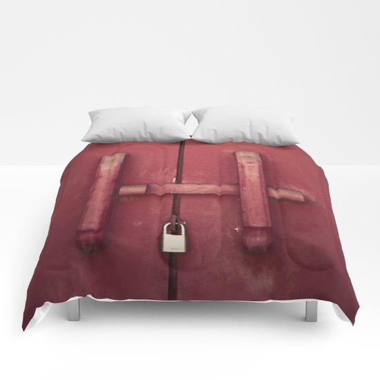 Locked red door Comforters