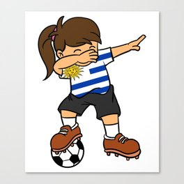 Uruguay Soccer Ball Dabbing Girl Uruguayan Football Canvas Print