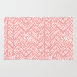 Coral Pink Chevron Floral Rug