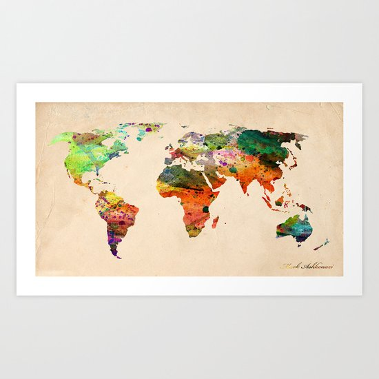 map world  Art Print