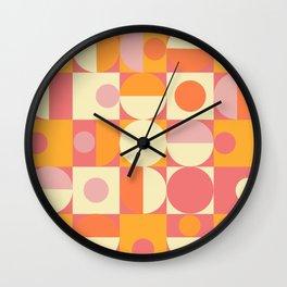 Thoroughly Modern Pink And Orange Geometric Design Wall Clock