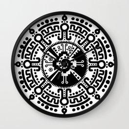 Hunab Ku Mayan symbol black and white #3 Wall Clock