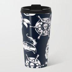 Navy Blue Pirate Pattern Metal Travel Mug