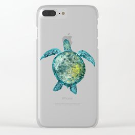 Watercolor Sea Turtle - Turquoise Clear iPhone Case
