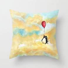 Penguin and a Red Balloon Throw Pillow