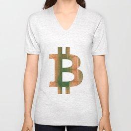 Bitcoin Peru green streaked wash drawing Unisex V-Neck
