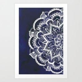 White Feather Mandala on Navy Art Print