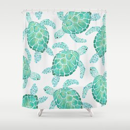 Sea Turtle Pattern - Blue Shower Curtain