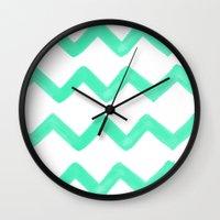 tiffany Wall Clocks featuring Tiffany Chevron by Rebecca Allen