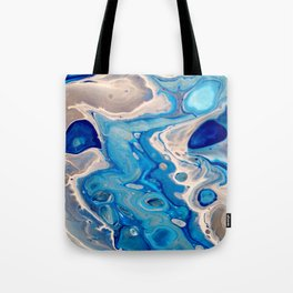 Blue and Silver Fluid Abstract - Silver Lining Tote Bag