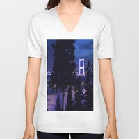 bridge V-neck T-shirts featuring bridge by gzm_guvenc