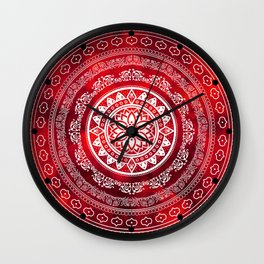 'Scarlet Destiny' Red & White Flower Of Life Boho Mandala Design Wall Clock