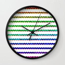 Multicolour Chrome Wiggle Line Pattern Wall Clock