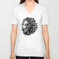 lion V-neck T-shirts featuring Lion by BIOWORKZ