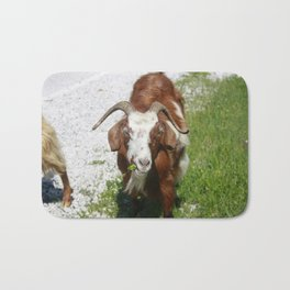 Whimsical Portrait of a Horned Goat Grazing Bath Mat