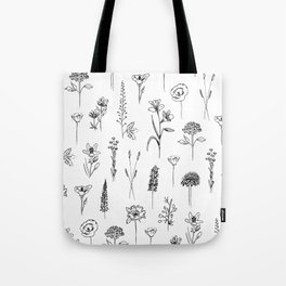 Patagonian wildflowers white Tote Bag
