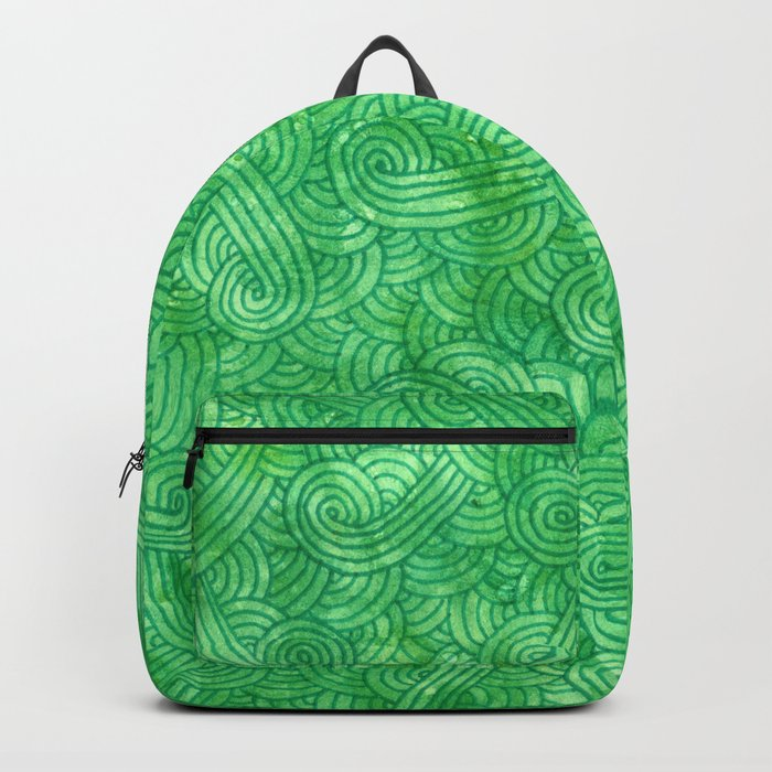 Bright green swirls doodles Backpack