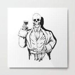 Vampire skeleton holding blood cup -  black and white Metal Print