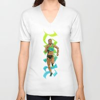 run V-neck T-shirts featuring Run by Akyanyme