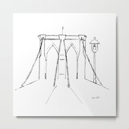Brooklyn Bridge in Black Ink Metal Print
