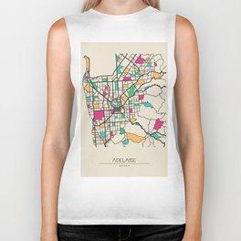 Colorful City Maps: Adelaide, South Australia Biker Tank