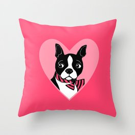 Boston Terrier Love Throw Pillow