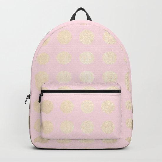Simply Polka Dots White Gold Sands on Flamingo Pink Backpack