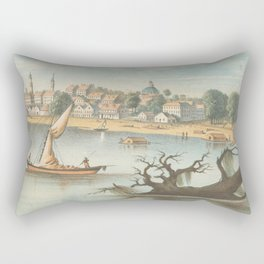 Vintage Pictorial View of Baton Rouge LA (1854) Rectangular Pillow