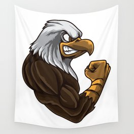 Eagle At The Gym | Work Out Fitness Muscles Power Wall Tapestry