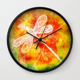Dragonfly in embroidered beauty Wall Clock