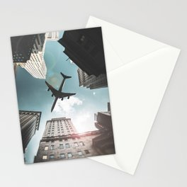 nyc downtown with plane Stationery Cards