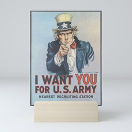 Vintage American First World War Poster - I Want You for the US Army (1917) Mini Art Print