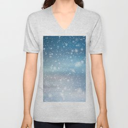 Snow Bokeh Blue Pattern Winter Snowing Abstract Unisex V-Neck