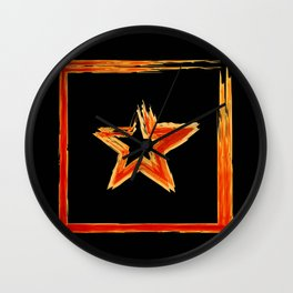 Fire star in red and blue color on a black background. Wall Clock