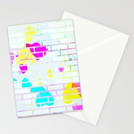 Neon Hearts on the Wall Stationery Cards