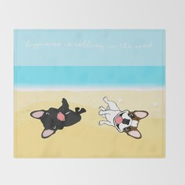 Frenchies Rolling In The Sand Throw Blanket