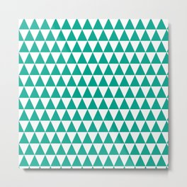 Emerald and White Triangle Pattern Metal Print
