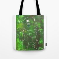 squirtle Tote Bags featuring Squirtle by pkarnold + The Cult Print Shop