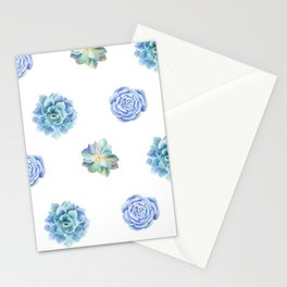Bue and gren succulents pattern Stationery Cards