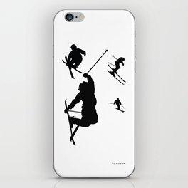 Skiing silhouettes iPhone Skin