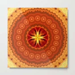 Fire Cross Mandala Metal Print