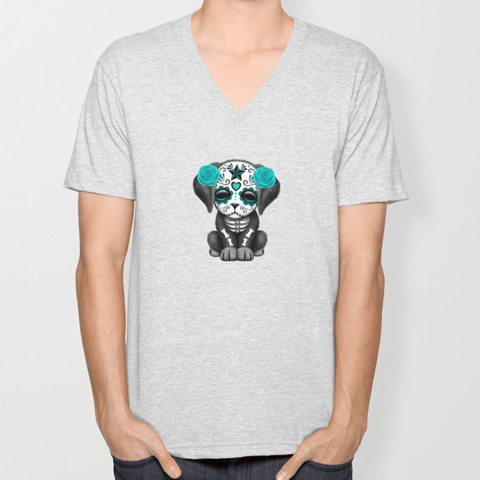 Cute Blue and Pink Day of the Dead Puppy Dog Unisex V-Neck