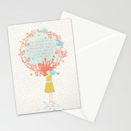 Girl with a cloud Stationery Cards
