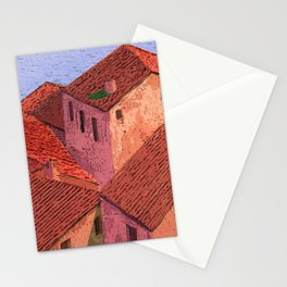Houses by the lake Stationery Cards