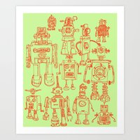 robots Art Prints featuring Robots! by Paul McCreery