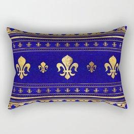 Fleur-de-lis  - Lapis Lazuli and Gold Rectangular Pillow