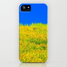 yellow poppy flower field with green leaf and clear blue sky iPhone Case
