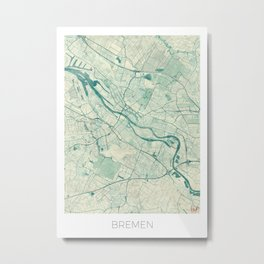 Bremen Map Blue Vintage Metal Print